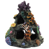 Coral Aquarium Decoration Fish Tank Resin Rock Mountain Cave Ornaments Fish House for Betta Sleep Rest Hide