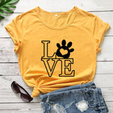 Love Dog Paw Shirt New Arrival Summer Women Casual O-Neck 100%Cotton Funny T Shirt Dog Lover Shirt Dog Mom Shirts Pet Lover Gift