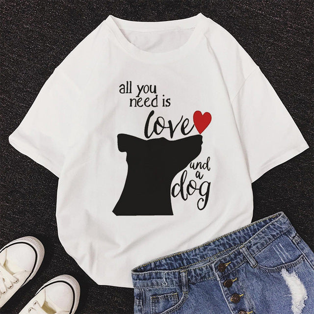 All You Need Is Love Und A Dog Print T Shirt Women Casual Kawaii Cartoon T-shirt Korean Style Tops Harajuku Short Sleeve T Shirt