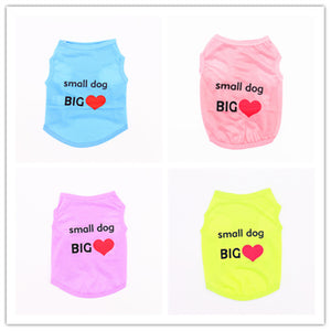 Small Dog BIG Love Four Colors Summer Pet Dog Clothes Vest T-shirt Lovely Beautiful Soft Comfortable Small Pet Dog Cat Clothes