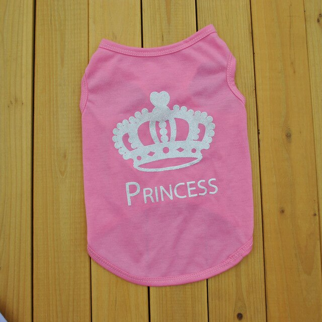 Princess Crown Pattern Cat Dog Comfortables Lovely Fashion Vest T-shirt Dog Clothes Pink Summer Small Cat Dog Clothing & Shoes