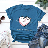 Women T-shirt 100% Cotton Plus Size Short Sleeve Cat Loves Me Cartoon Print T Shirt Female Vintage O-Neck Summer Tops Tees femme