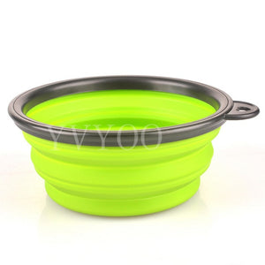 New Dog accessories silicone dog bowl candy color outdoor travel portable puppy doogie food container feeder dish on sale