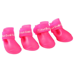 4pcs/lot S/M/L Pet Dog Rain Shoes for Dogs Booties Rubber Portable Anti Slip Waterproof Pet Dog Cat Rain Shoes