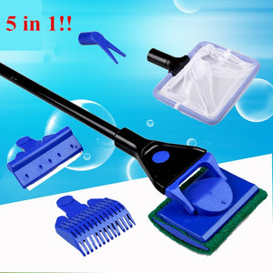 5 in 1 Aquarium Cleaning Tools Aquarium Tank Clean Set Fish Net Gravel Rake Algae Scraper Fork Sponge Brush Glass Cleaner