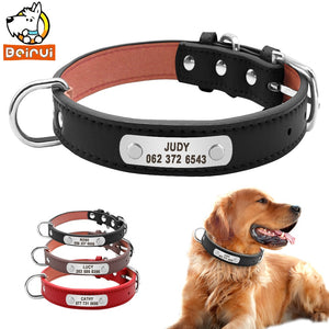 PU Leather Dog Collar Durable Padded Personalized Pet ID Collars Customized for Small Medium Large Dogs Cat Red Black Brown