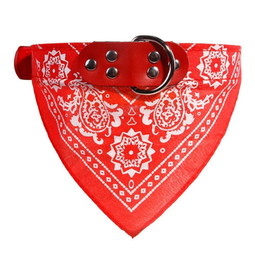 Adjustable Dog Bandana Leather Printed Soft Collar For Dog Pet Supplies Cat Dog Scarf Collar For Chihuahua Puppy Pet Neckerchief