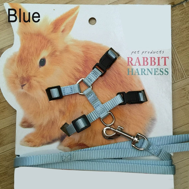 Pet Rabbit Soft Harness Leash Adjustable Bunny Traction Rope for Running Walking E2S