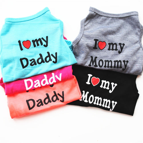 2pcs/set Summer Pet Clothes I Love My Mom Dog Funny T Shirt Dog Clothes Summer Pomeranian Puppies Vest Shirt Clothes Coat Pet E