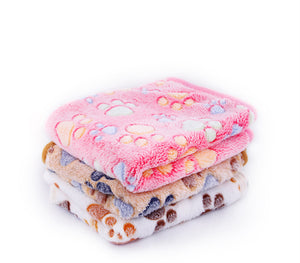 3 Colors  40x60cm 75x50cm  Cute Floral Pet Sleep Warm Paw Print towl Dog Cat Puppy Fleece Soft Dog Blanket Pet Dog Beds Mat