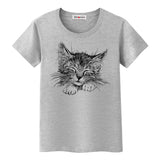 BGtomato sketch cat lovely tshirt women super fashion art shirts brand new summer casual top tees soft t-shirt