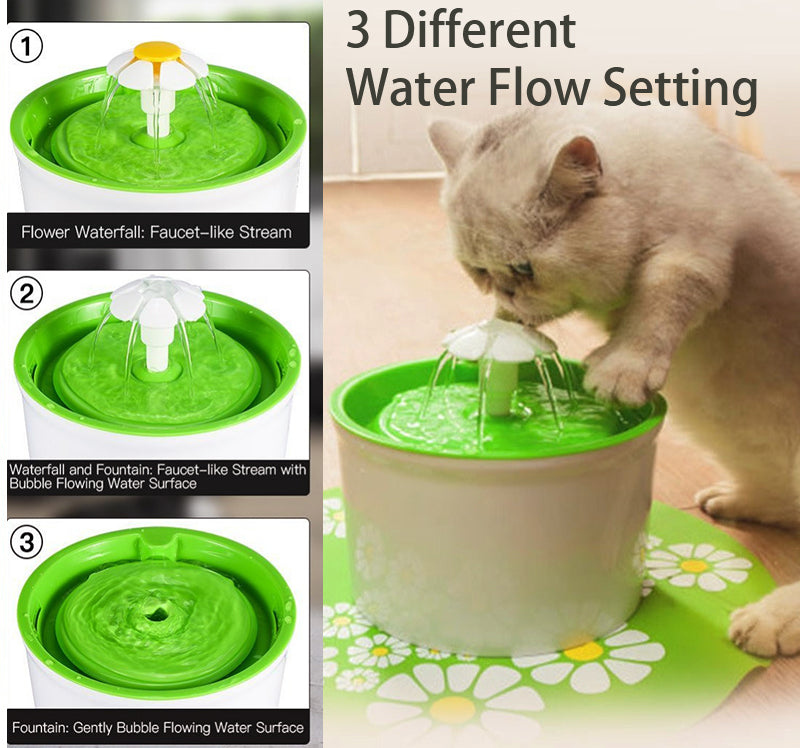 Automatic Cat Dog Pet Water Fountain Pet Bowl Cat Drinking Flower Water Dispenser Petsafe Drink with Filters Pet Water Fountain