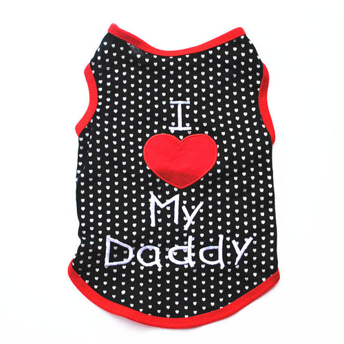 Soft Cotton Dots I Love Daddy Dog Clothes Summer T-shirt For Small Puppy Dogs Chihuahua Vest Apparel Pet Cat Clothing For Teddy