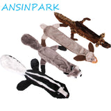 ANSINPARK cute plush toys squeak pet wolf rabbit animal plush toy dog chew squeaky whistling involved squirrel dog toys G666