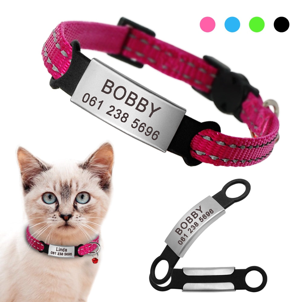 Nylon Cat Collar Personalized Pet Collars With Name ID Tag Reflective Chihuahua Kitten Collars Necklace For Pets Dog Accessories
