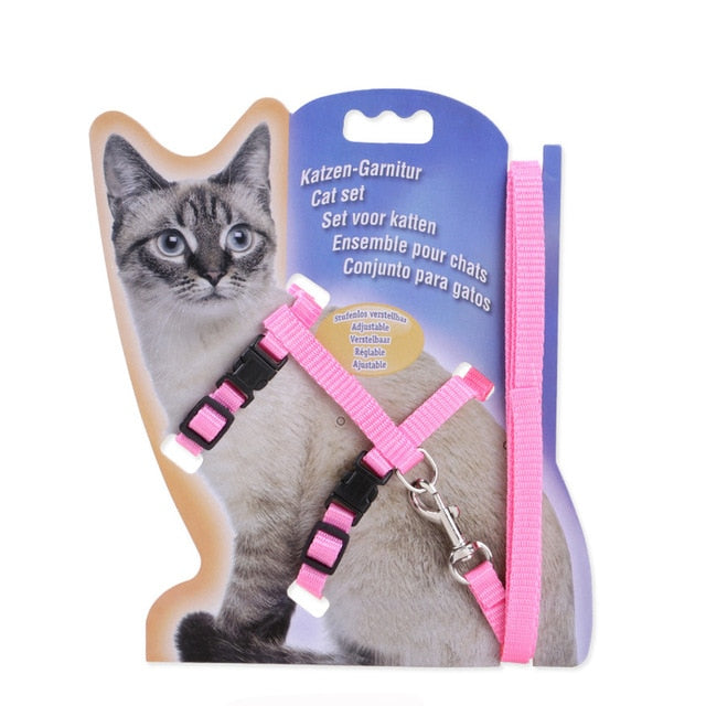 Nylon Cat Harness And Leash Set Pet Products For Animals Adjustable Dog Traction Harness Belt Cat Kitten Halter Cat Collar