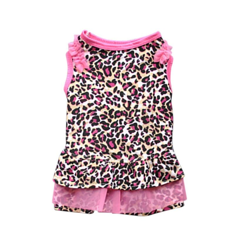 Cute Dog Dot Dresses Leopard Pattern Printed Puppy Dog Cat Lovely Shirt Dress Pet Clothes