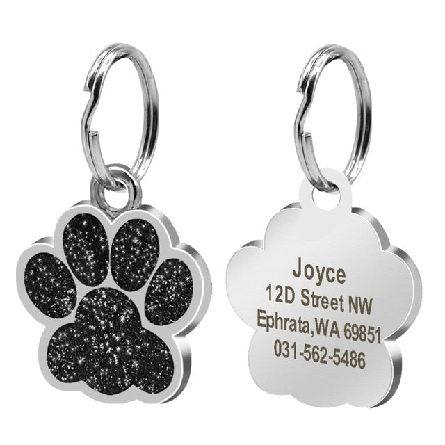 Dog ID Tag Personalized for Small Dogs Customized Rhinestone Pet Accessories Paw Foot Print Name Tag Plate Collar Decoration