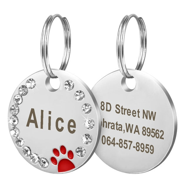 Dog Tag Personalized Pet Puppy Cat ID Tag Engraved Custom Dog Collar Accessories Stainless Steel Name Tag Paw For Dogs Cats Pink