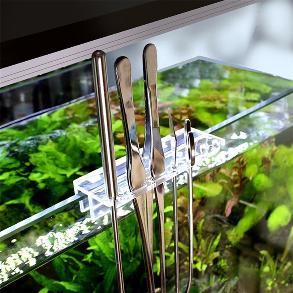 Aquarium Maintenance Tools Kit Tweezers Curve Scissor Storage Holder Fish Tank Water Plants Grass Stainless Steel Cleaning Tool