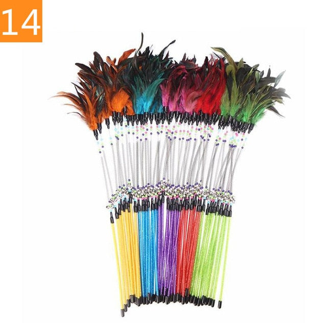 1PC Teaser Feather Toys Kitten Funny Colorful Rod Cat Wand Toys Plastic Pet Cat Toys Interactive Stick Pet Cat Supplies DropShip