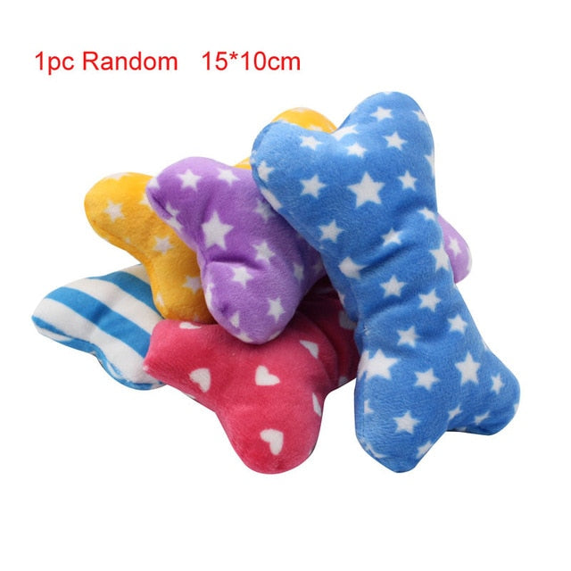 pawstrip 1pc Plush Dog Toys Squeaky Bone Ice Cream Carrot Puppy Chew Toy Interactive Cat Toys Pet Dog Sound Toys For Small Dogs