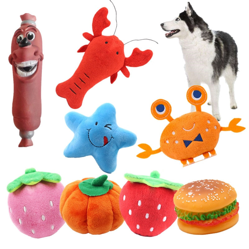 Fleece Squeak Toy for Small Dogs Cute Crayfish Crab Type Pet Dogs Sounding Toys Cat Fish Puppy Bone Squeaky Rope Toys