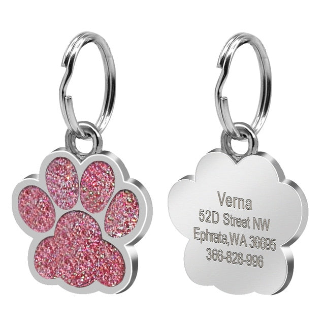 Custom Dog Tag Engraved Pet Dog Collar Accessories Personalized Cat Puppy ID Tag Stainless Steel Paw Name Tags Pendant Anti-lost