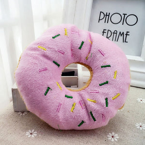 Pink Coffee Color Pet Dog Chew Throw Toys Sightly Lovely Pet Dog Puppy Cat Squeaker Quack Sound Donut Play Toys For Dogs 14cm