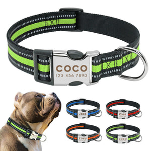 Personalized Dog Collar Reflective Pet Nylon Dog Tag Collar Custom Dog ID Name Collars Engraved For Medium Large Dogs Perro S-L