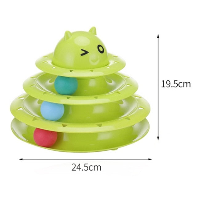 Funny Cat Pet Toy Cat Toys Intelligence Triple Play Disc Cat Toy Balls Cat Crazy Ball Disk Interactive Toy for IQ Traning