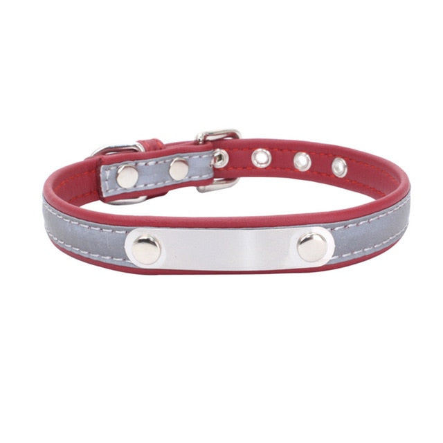 Reflective Leather Customized Cat Collar Personalized ID Collar Engrave Name Phone Number Free Engraving For Puppy Chihuahua 15
