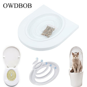 OWDBOB Pet Cat Toilet Training Kit Seat Cat Litter Cleaning Trays Small Cat Potty Train System Training Toilet Tray Pet Supplies