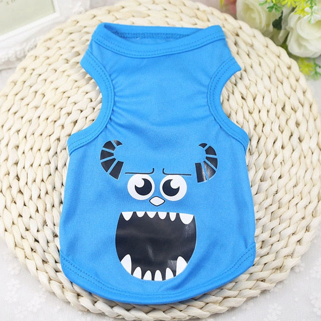 Pet Cat Clothes for Cats Summer Vest T Shirt Dog Cat Clothes Costume for Small Dogs Cartoon Vest for Puppy 35