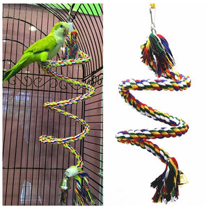 Parrot Rope Toy Braided Parrot Chew Rope Perch Coil Bird Cage Cockatiel Toy Pet Bird Training Accessories Conure Swing Supplies
