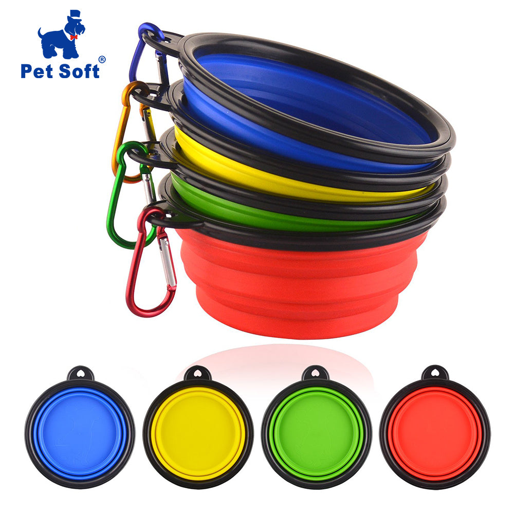 Pet Soft Dog Bowl 1PC Folding Silicone Travel Bowl For Dog Portable Collapsible Folding Dog Bowl for Pet Cat Food Water Feeding