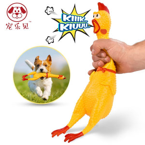 Pets Dog Toys  Screaming Chicken Squeeze Sound Toy for Dogs Super Durable & Funny Squeaky Yellow Rubber Chicken Dog Chew Toy