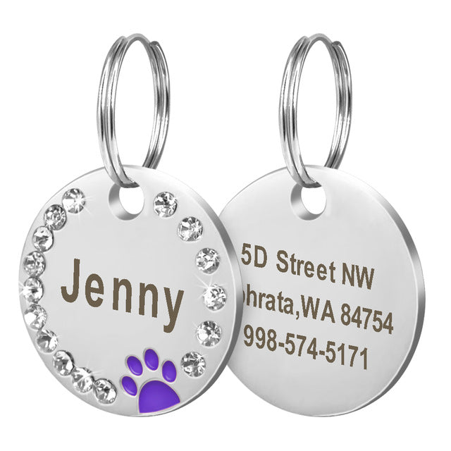 Personalized Dog Tag Custom Pet Puppy Cat ID Tag Dog Collar Accessories Engraved Stainless Steel Name Paw Tag For Dogs Cats Pink