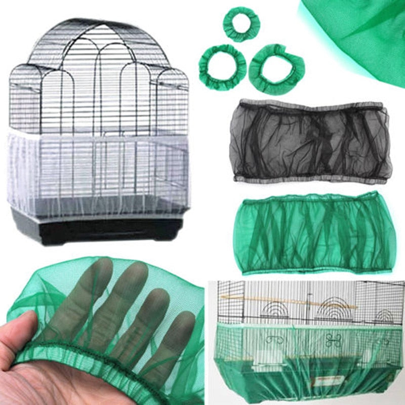 Nylon Mesh Receptor Seed Guard Bird Parrot Cover Soft Easy Cleaning Nylon Airy Fabric Mesh Bird Cage Cover Catcher