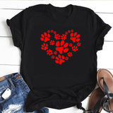 Dog Paw Love Heart Print Women White Top Causal Harajuku Cats Lover Tshirt  Dogs Lover T-shirt Women Graphic Tee Shirt Drop Ship