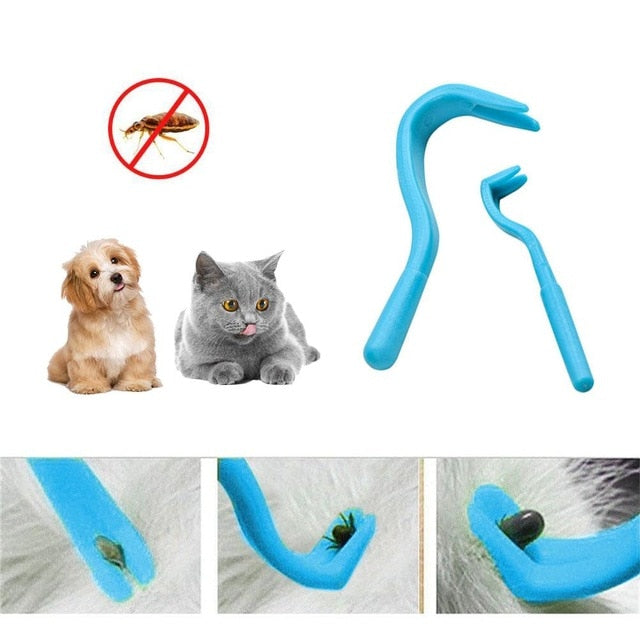 2PCS Pet Flea Remover Tool Scratching Hook Remover Pet Cat Dog Grooming Supplies Lice Tick Remover Clips Pet Comb