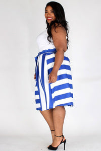 Plus Blue/White banded waist with tie up belt and box pleats.