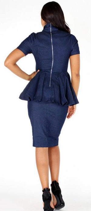 Denim comfortable fit dress with ruffled waist
