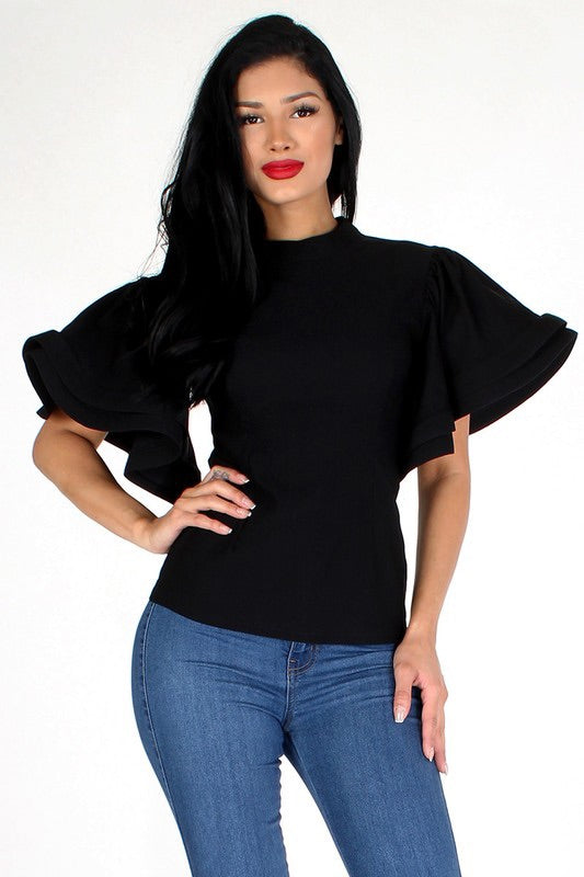 Black waist length top with keyhole back