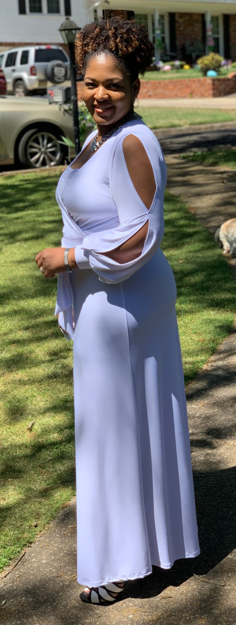 White comfortable maxi wrap dress with split cut sleeves.