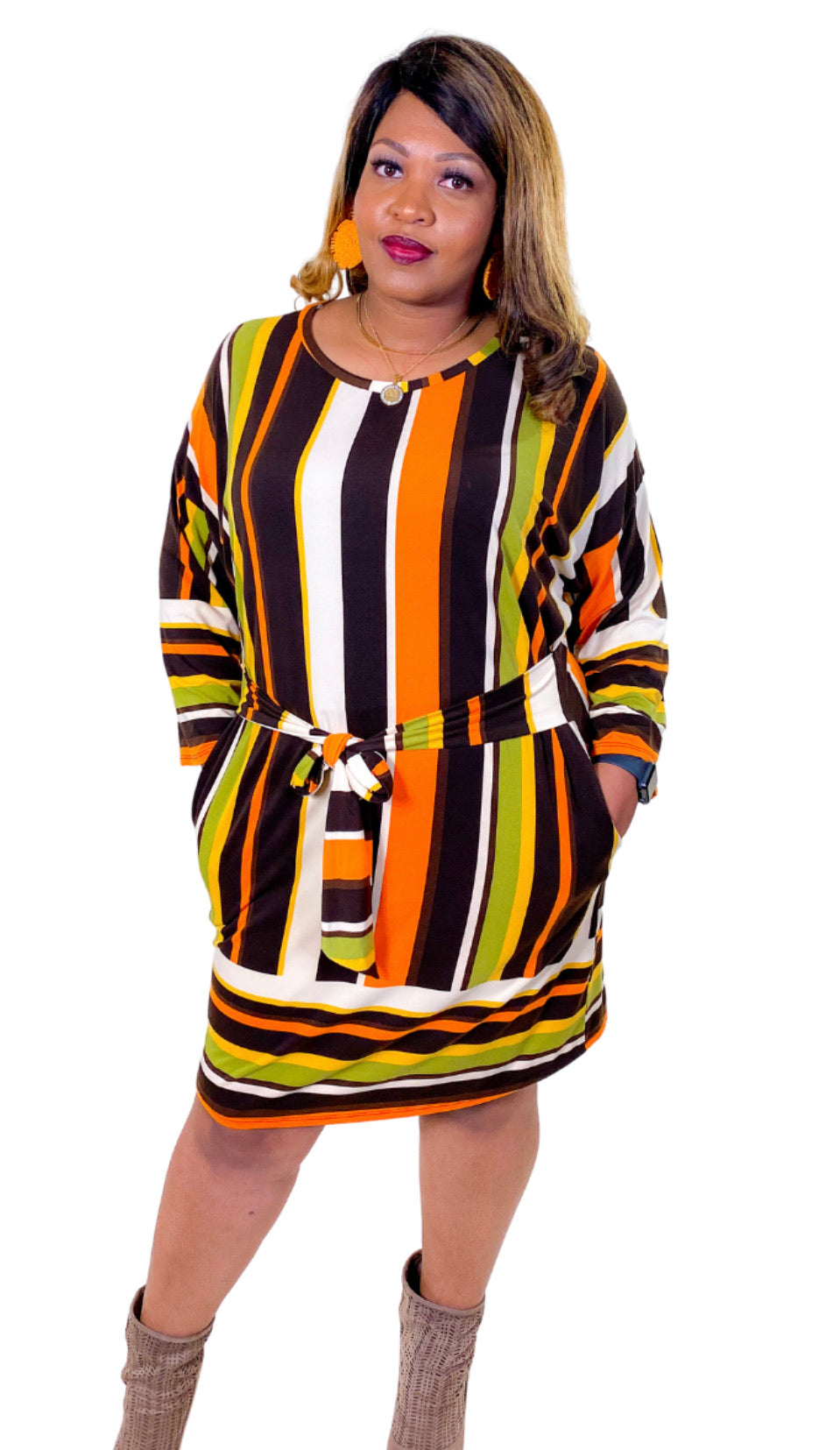 Brown & Orange Striped Dress