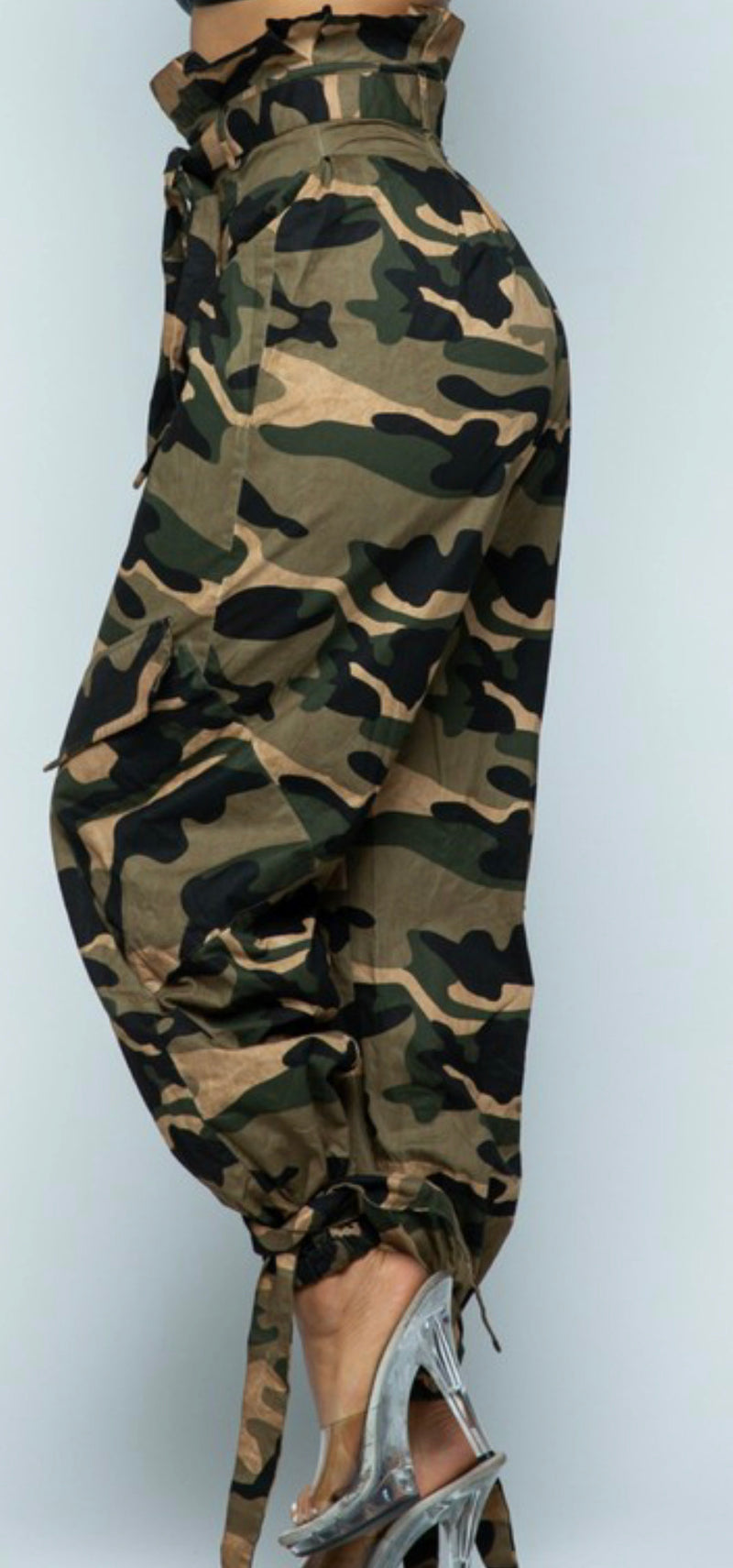 Khaki camouflage pants with cute tie at the ankle