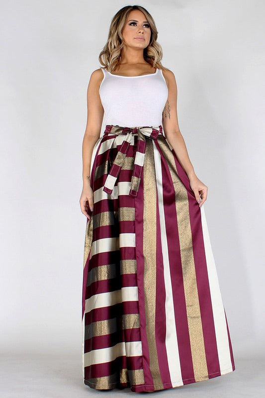 Metallic Stripe A-line maxi skirt with elastic waist and pockets