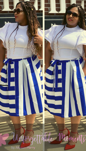 Blue/White banded waist with tie up belt and box pleats.