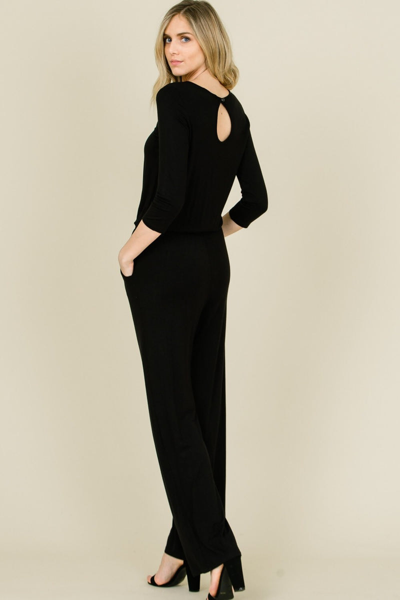 Comfortable black jumpsuit with keyhole back